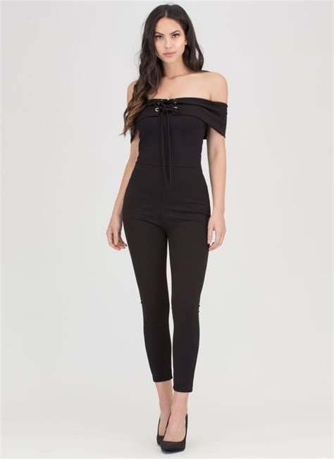 Shoulder Lace Up Jumpsuit i fold lace up shoulder jumpsuit blush black gojane
