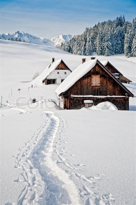 Building Plans For Small Cabins winter landscape with small hut in the austrian alps