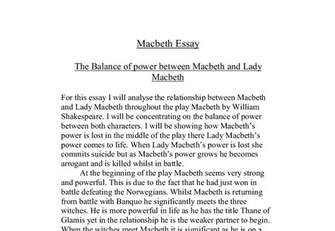 Macbeth Conclusion Essay by Essay On Macbeth Power South Florida Painless Breast Implants By Dr Paul Wigodasouth