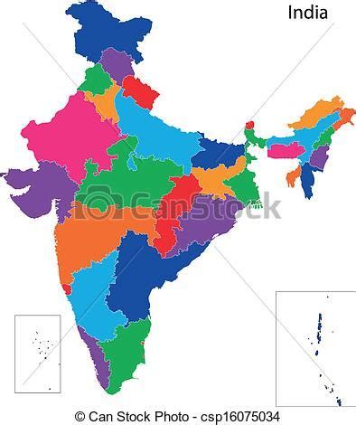 India Outline Map Coloured by Vectors Of India Map Map Of Administrative Divisions Of India Csp16075034 Search Clip