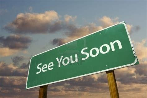 it s coming are you image 6394892 see you soon green road sign with dramatic