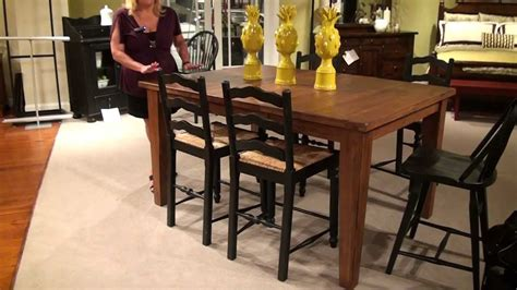 attic heirlooms dining table attic heirlooms rectangular counter height leg table by