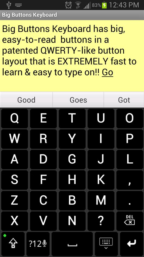 large keyboard for android big buttons keyboard deluxe co uk appstore for android