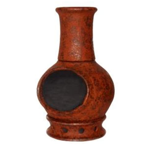 33 in kd clay chiminea in brown kd rustic the home depot