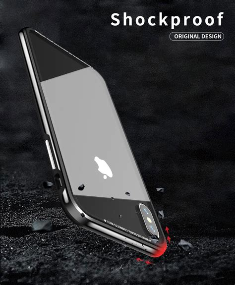 r just hermit series shockproof metal bumper tempered glass back cover for iphone xr xs xs max