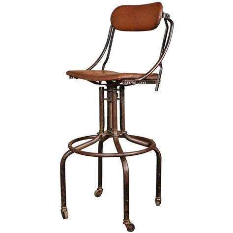 vintage industrial adjustable back bar stool at 1stdibs