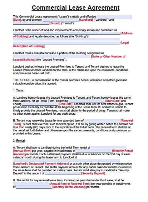 warehouse lease agreement template free new jersey commercial lease agreement pdf template