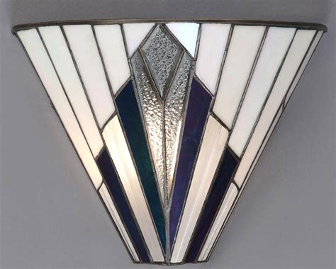 art deco wall light with white glass and mirror panels astoria tiffany wall light art deco design 63940