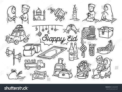 doodle fitri eid mubarak idul fitri doodle stock vector illustration
