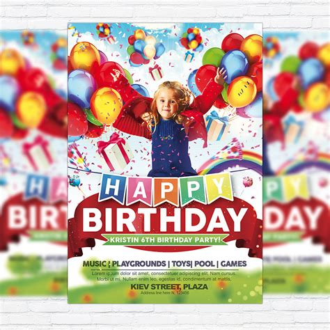 kids happy birthday premium flyer template facebook