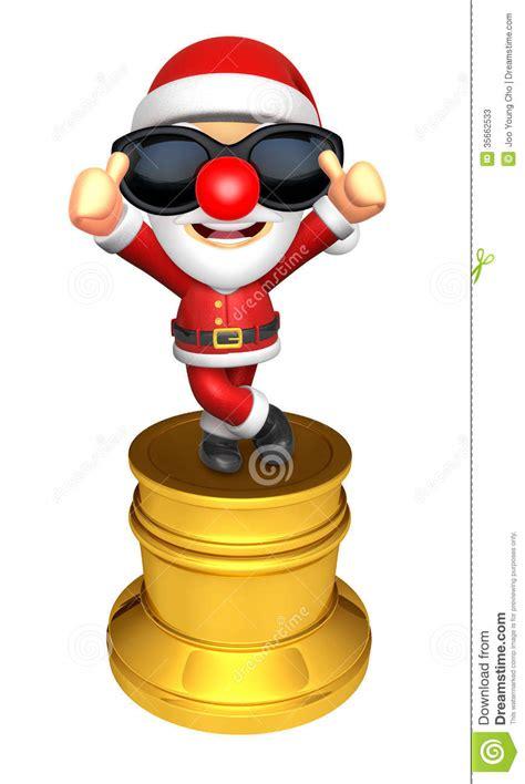 santa character trophy    gesture  christmas char stock illustration