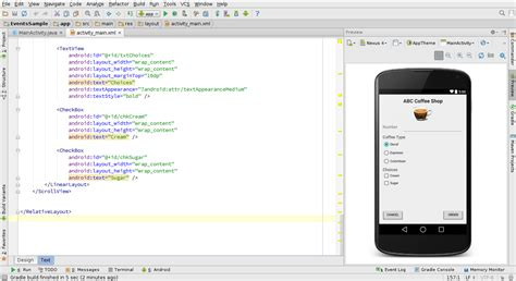 android layout xml templates event handling