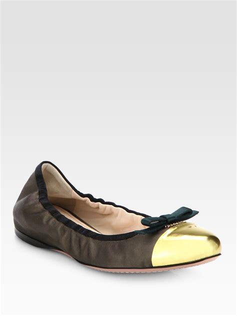 Prada Flats prada satin bow ballet flats in gold brown gold lyst