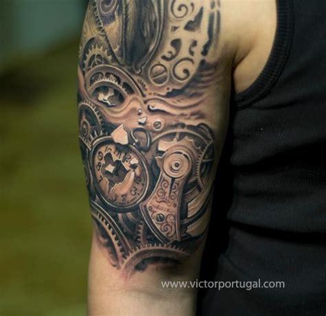 shoulder realistic clock tattoo  victor portugal