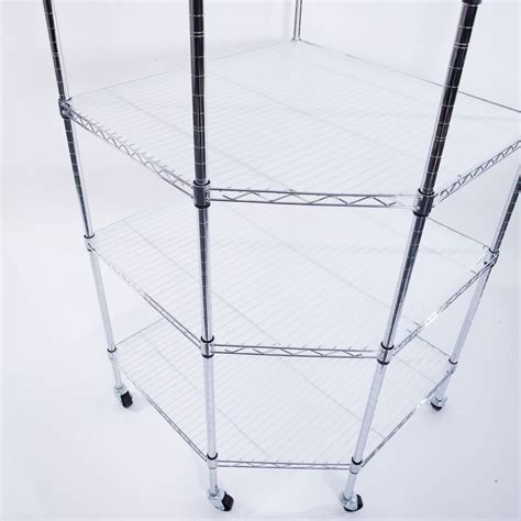 6 Tier Corner Shelf Liners Adjustable Steel Metal Wire Shelving Rack Commercial Ebay Wire Shelving Installation Template