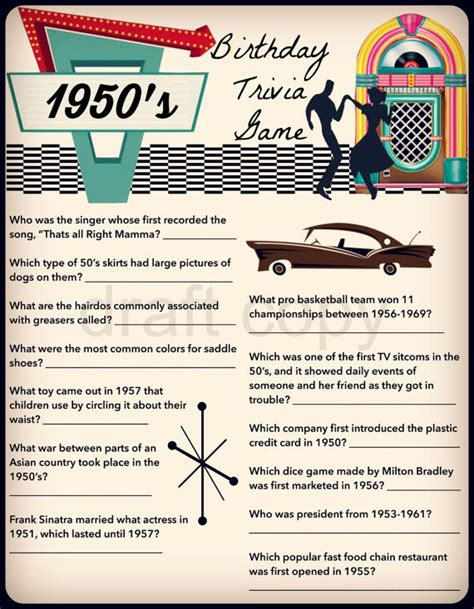 theme quiz ideas 1950 s birthday trivia game birthday party trivia 50 s