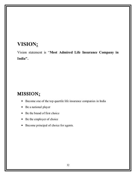 project vision template project report on max insurance 2
