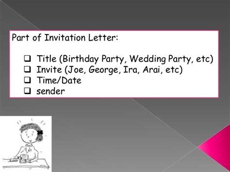 Invitation Letter Parts Invitation