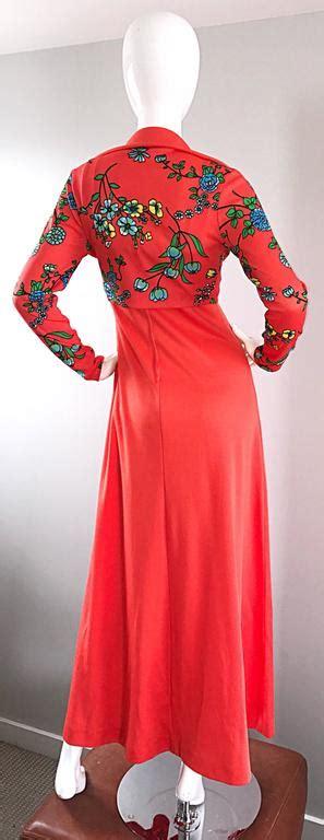 Maxi Bolero Polka amazing 1970s bright neon orange vintage 70s knit maxi dress and cropped bolero for sale at 1stdibs
