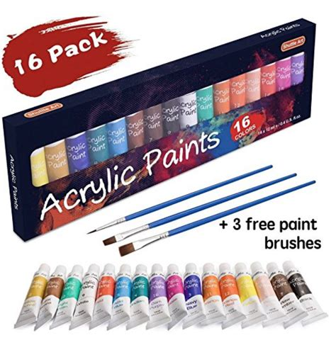acrylic paint set kmart 16pc acrylic paint set 3 brushes