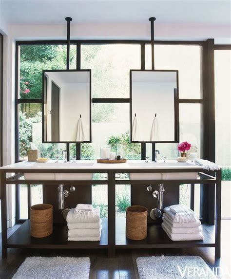 Bathroom Pictures To Hang by Sleek Bathroom Design With Ceiling Mounted Hanging Mirrors