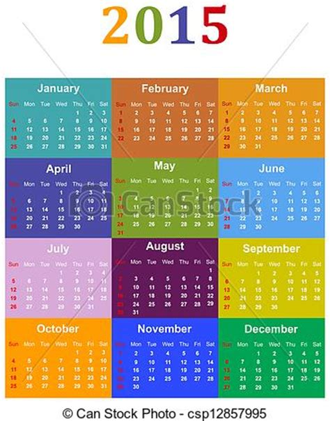 Buy Calendrier 2015 Stock De Ilustraciones De Calendario 2015 Colorido