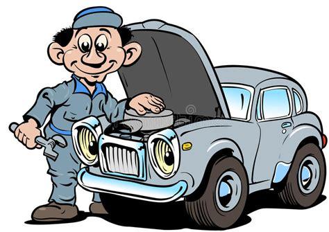 auto reparieren automechaniker der altes auto repariert vektor abbildung