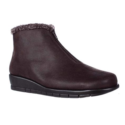 aerosoles nonchalant low heel wedge ankle boots brown