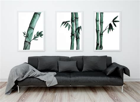 superb Dining Room Art Ideas #5: watercolor-bamboo-Wall-Painting.jpg