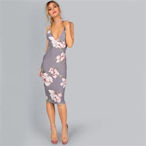 Dress 2675 Cf Grey Cincin Fashion grey floral backless boodycon midi dress uniqistic