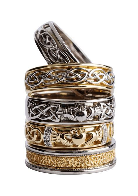 A selection of Men's gold Celtic wedding bands, see more
