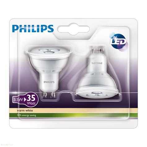 philips led len gu10 3 watt philips led l spot 35w gu10 set van 2 len