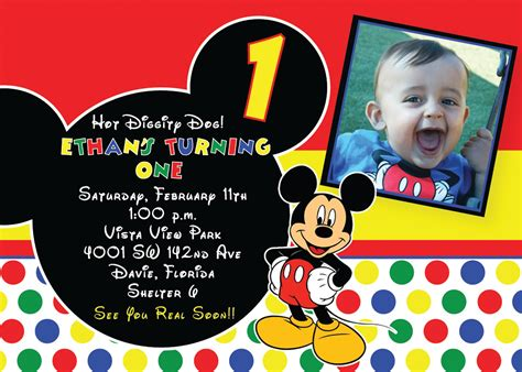mickey mouse birthday invitation card template free printable 1st mickey mouse birthday invitations