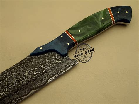 Handcrafted Kitchen Knives - damascus kitchen knife custom handmade damascus steel kitchen