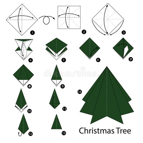 origami christmas decorations step by step step by step how to make origami tree stock vector illustration of