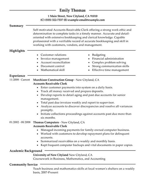 Professional Summary For Clerical Resume Accounts Receivable Clerk Resume Exles Free To Try