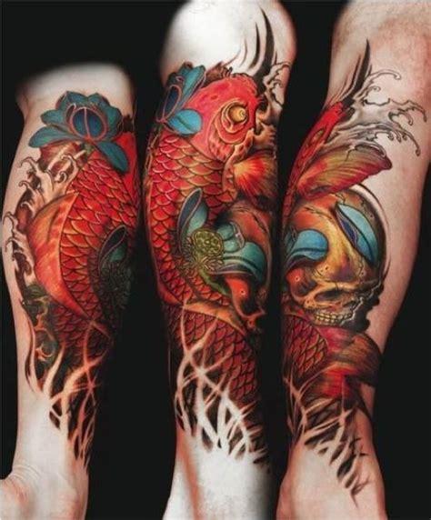tattoo cream japan skull and koi leg piece skull koi leg tattoo tattoos