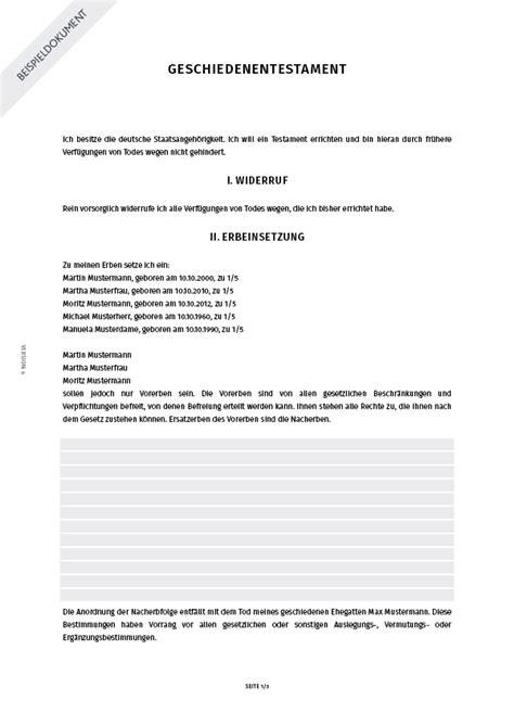 Muster Notar Schreiben Geschiedenentestament Schreiben Smartlaw