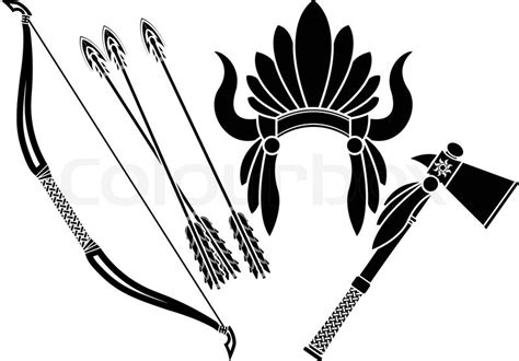 american indian headdress tomahawk and bow stencileps