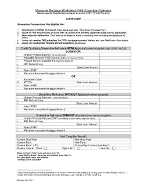 Mortgagee Letter Net Tangible Benefit Fha Refinance Worksheet Lesupercoin Printables Worksheets