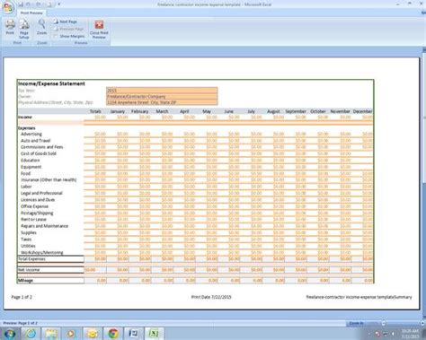 Freelance Photographer Income And Expenses Excel Spreadsheet Excel Templates For Photographers