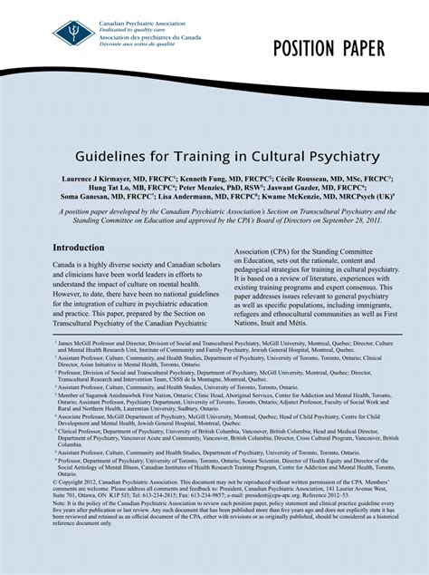Paper Courses - guidelines for in cultural psychiatry position