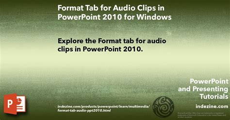Format Audio Powerpoint 2010 | animating slide objects while media is playing in