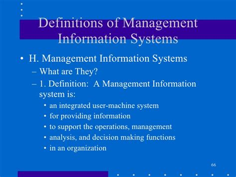 define systemize definitions of management information systems
