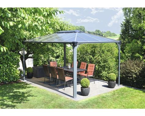 flachdach pavillon aluminium pavillon palram martinique 4300 430x295 5 cm anthrazit bei
