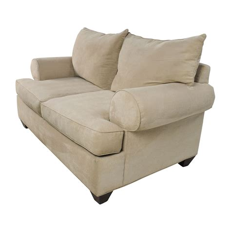 microfiber loveseat 66 off raymour and flanigan raymour flanigan beige