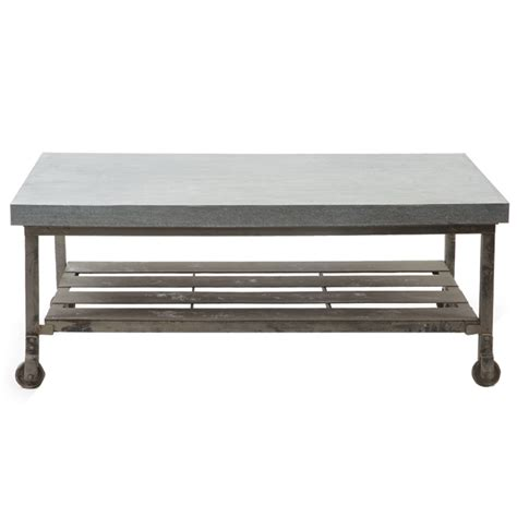 galvanized steel top coffee table