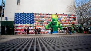 Wall Murals Graffiti ron english s bowery wall is a giant branded american flag