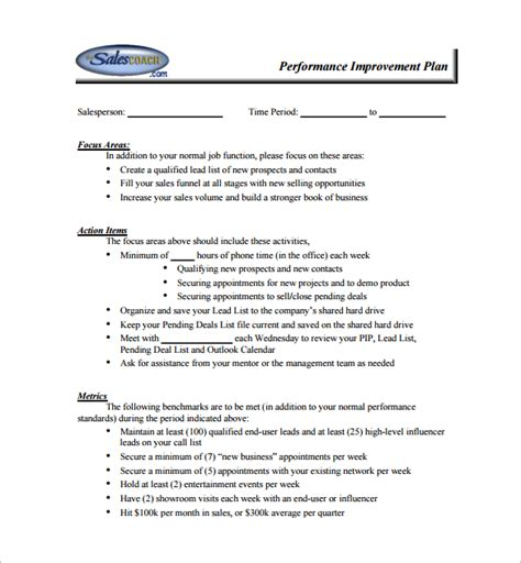 Service Improvement Letter Performance Improvement Plan Template 11 Free Word