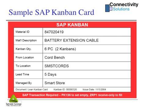 Kanban Replenishment Card Template by Connectivity Solutions Sap Kanban
